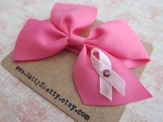 breast cancer hair bow