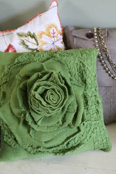 Upcycled Green Sweater Rose Pillow Cover - Love the style of this!
