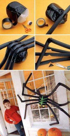 Spooky Giant Spider Made From Jug and Pool Noodles.