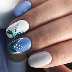 Try some of these designs and give your nails a quick makeover, gallery of unique nail art designs for any season. The best images and creative ideas for your nails. Spring Nail Art, Spring Nails, Stylish Nails, Trendy Nails, Blue Nails, My Nails, Nail Art Fleur, Pink Gel, Lavender Nails