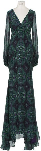 Green Printed Silk Long Dress - Lyst
