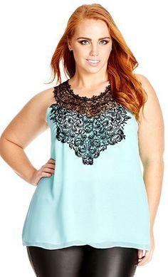 City Chic 'Mingle' Lace Detail Sleeveless Top #plus #curvy #psblogger #plussize