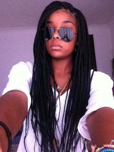 Full, long box braids with a healthy scalp. THIS is what I'm talking about.