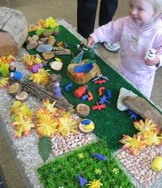 Pretend Play Invitation to Play: Bug Garden - with rocks, grass (real or imitation), sticks, etc. and a bag or toob of bugs.