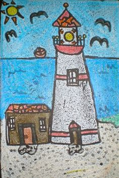 """Second graders discussed what they knew about lighthouses, then looked at many photographs of lighthouses around the USA. Based on their findings, they designed and made a printing plate on styrofoam, printed multiple copies with white ink and then hand-colored the images. You can almost feel the ocean breeze!"""
