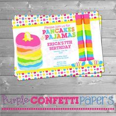 Pancakes & Pajamas Birthday Invitation  by PurpleConfettiPapers #pancakes&pajamas #purpleconfettipapers #birthdayinvitation #birthdayparty