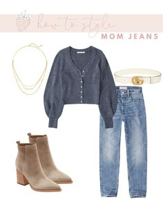 How to Wear Mom Jeans without Looking Frumpy | Strawberry Chic Mom Jeans Style, Mom Jeans Outfit, Jean Outfits, Fashion Outfits, Womens Fashion, Female Fashion, Winter Sweater Outfits, Hijab Casual, Instagram Fashion