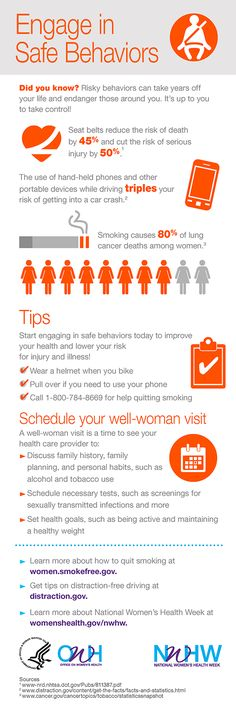 Risky behaviors can take years off your life and endanger those around you. It's up to you to take control! Engage in safe behaviors this National Women's Health Week. #NWHW