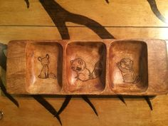 A personal favorite from my Etsy shop https://www.etsy.com/listing/254164392/adorable-3-compartment-wooden-tray-wood