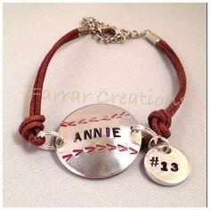 Personalized Baseball Bracelet hand stamped, Softball Bracelet, Mom, daughter, son. $27.00, via Etsy.