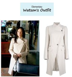 """March 14, 2014 @ 5:50pm Lucy Liu as Joan Watson inElementary-""""The Hound of the Cancer Cells"""" (Ep. 218). I'm continually blown away by this season. I loved their version ofThe Hound of the Baskervillesin this episode. Congrats on a well deserved third season renewal! Watson's Coat (also worn on Ep. 207here):Ann Demeulemeester Asymmetric Front Coat sold out $1,890here
