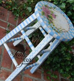 HAND PAINTED Shabby whimsical Bar Stool by TheLeahJaneOriginals, $220.00