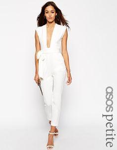 ASOS PETITE Plunge Front Tailored Jumpsuit