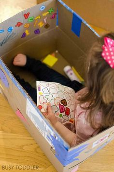 4 Tips for Extreme Box Decorating - Busy Toddler Outdoor Games For Preschoolers, Indoor Activities For Toddlers, Games For Toddlers, Summer Activities For Kids, Crafts For Kids, Toddler Games, Infant Activities, Toddler Crafts, Family Activities