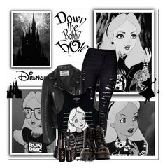 """""""Get the look Emo Alice in wonderland"""" by beverlyridgway ❤ liked on Polyvore featuring Disney, Acne Studios, NYX and Dr. Martens"""