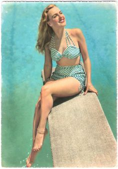 fifties style inspiration. I love the high waisted swims suits