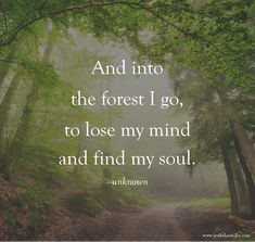 """And into the forest I go, to lose my mind and find my soul."" ""And into the forest I go, to lose my mind and find my soul. New Quotes, Movie Quotes, Quotes To Live By, Life Quotes, Forest Quotes, Nature Quotes, Hippie Quotes, Peace On Earth, Lose My Mind"
