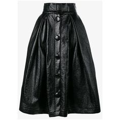 A.W.A.K.E. Belted Full Skirt (20 765 UAH) ❤ liked on Polyvore featuring skirts, black, button front skirt, button up front skirt, high rise skirts, mid length skirts and pleated skirt