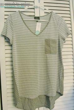 Market & Spruce Austin Pokla Dot & Striped Mixed Material Shirt - Stitch Fix Review May 2015