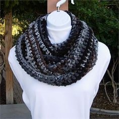 Long Black, Brown, Gray, and Off-White INFINITY LOOP COWL SCARF, 80 x 5.5   Extremely Soft, Warm, and Cozy Infinity Scarf hand-crocheted with a high quality acrylic yarn. Because of the cuddly softness, the scarf is incredibly comfortable and feels wonderful against the skin.   The Charisma brand of yarn is perfect for winter: its considered a bulky yarn (thicker than normal strand) but is still very airy and lightweight, providing tons of warmth without heaviness. Its 100% acrylic…
