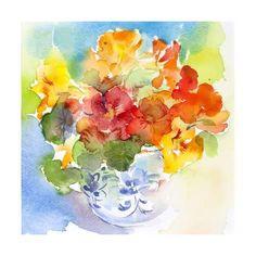 Giclee Print: Nasturtium in Delft Vase, 2013 by John Keeling : Abstract Flowers, Watercolor Flowers, Watercolor Paintings, Watercolors, Mini Paintings, Flower Paintings, Botanical Flowers, Illustrations, Art Tutorials