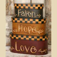 FAITH HOPE LOVE NESTING BOXES-NESTING BOXES, PRIMITIVE BOXES, COUNTRY BOXES