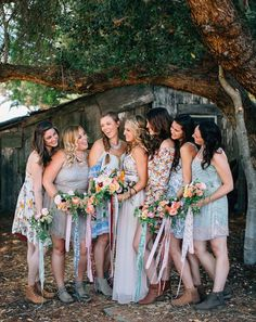 Mismatched bridesmaid dresses are perfect for a boho wedding.