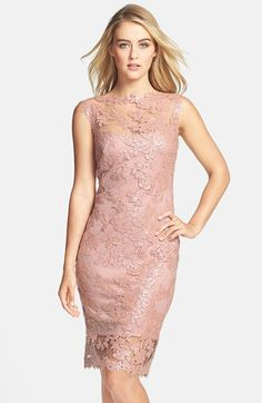 Tadashi Shoji Sequin Illusion Lace Dress (Regular & Petite) | Nordstrom