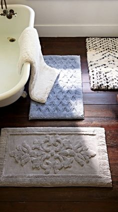 Memorable bath rugs. Indulgent memory foam rugs provide supremely soft comfort and anti-fatigue support.
