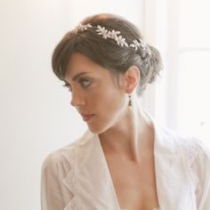 Crystal wild flower leaf bridal vine - wedding headband silver gold 847. $355.00, via Etsy.