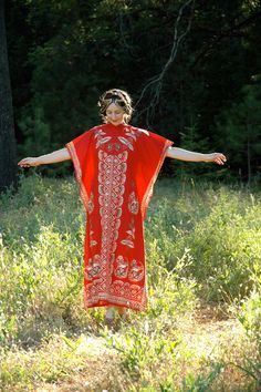 Batik Maxi Caftan Red Indonesian Kaftan Boho by AstralBoutique, $48.00