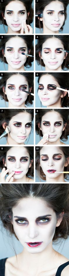 Zombies don& need to look totally scary, they can actually be stunning! How about a zombie on her wedding day this Halloween? This zombie bride makeup tutorial is scary gorgeous! Halloween Zombie Makeup Tutorial, Diy Maquillage Halloween, Zombie Bride Makeup, Maquillaje Halloween Tutorial, Amazing Halloween Makeup, Halloween Face Makeup, Pretty Zombie Makeup, Zombie Makeup Easy, Zombie Makeup Tutorials