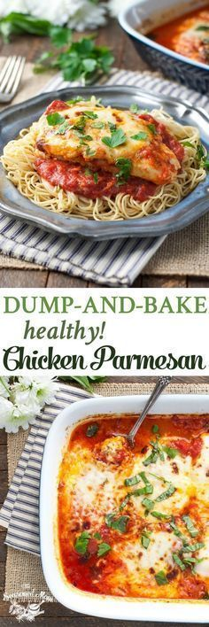 No prep work necessary for this Dump-and-Bake Healthy Chicken Parmesan! Dinner Ideas | Easy Dinner Recipes Healthy | Chicken Recipes | Chicken Breast Recipes | Gluten Free #chickenparmesan #healthydinner #glutenfree