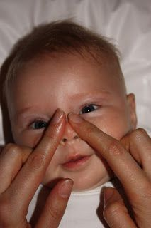 Baby massage - helps with teething and colds ... this DOES work, I used to do this with my sons.