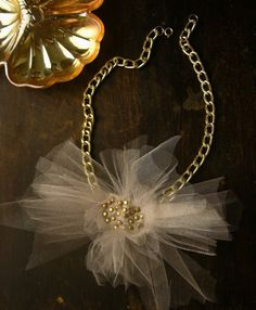 ludivine tulle statement necklace beige by whiteowl on Etsy, $38.00. love it!