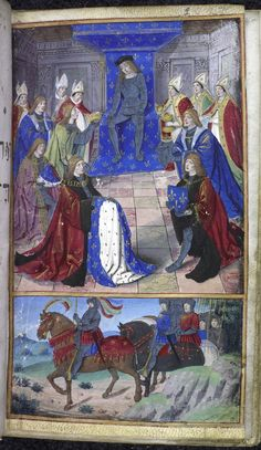 Miniature of the king of France being presented with the attributes of his throne (the crown, the helm, the cloak, the sword, the fleur de lis, etc.) by bishops and dignitaries. This miniature was painted in Paris, c. 1500, and was bound together, probably in the 17th century, with the manuscript containing the Brut and other chronicles, which was copied about 50 years earlier. Harley MS 200, f. 2r