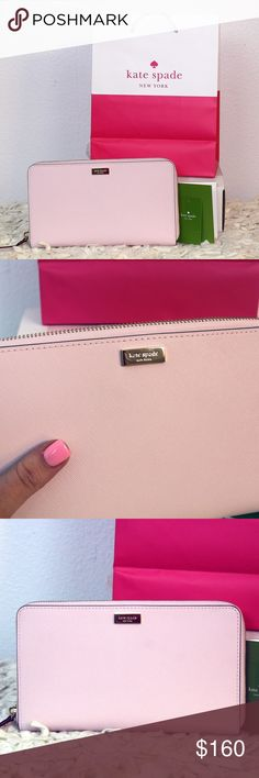 "♠️ Huge Kate Spade Full Zip Talla Wallet Brand New with tags Kate Spade Talla Newbury Lane Travel Wallet Retail $198  SAFFIANO LEATHER COLOR: POSYPINK MEASURES APPROX.: 9"" X 5.25"" X 1"" ZIP AROUND CLOSURE 14K PLATED LIGHT GOLD-TONE HARDWARE INTERIOR: PINK LEATHER, FABRIC LINING WITH KATE SPADE LOGO, 8 CREDIT CARD SLOTS, 2 FULL LENGTH SLOTS, 1 COIN ZIPPER POCKETS, 1 FULL LENGTH ZIPPER POCKET, ID WINDOW, PEN HOLDER,   EXTERIOR SLIP POCKET STYLE# WLRU2304 MSRP: $195 kate spade Bags Wallets"