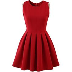 Chicwish Favored Sleeveless Skater Dress in Red ($52) ❤ liked on Polyvore featuring dresses, vestidos, red, short dresses, no sleeve dress, red dress, pleated skater dress, chicwish dresses and mini dress
