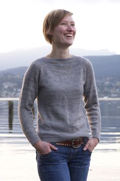 Top down, seamless sweater. Free pattern on Tin Can Knits site.