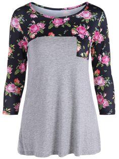 One Pocket 3D Floral Splicing T-Shirt