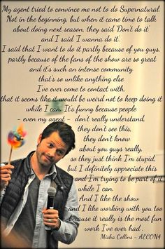 We're glad you stay, Misha. Not only do we need Cas, but we need you too!
