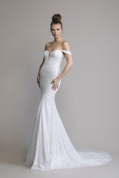 b584057d Off The Shoulder Glitter Sheath Wedding Dress. New to Kleinfeld: Love by Pnina  Tornai ...