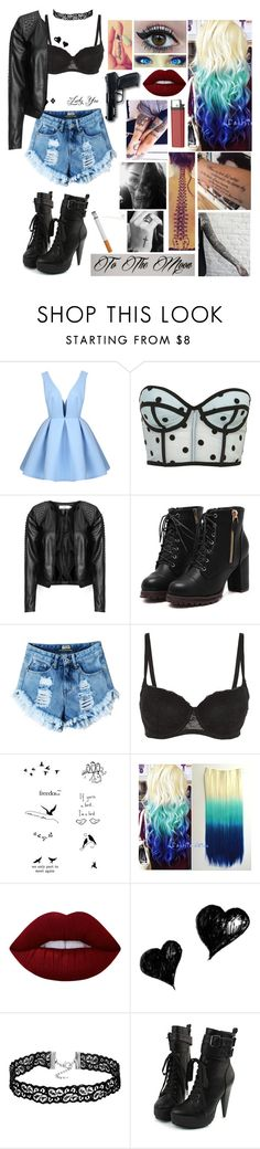 """Untitled #478"" by skh-siera18 ❤ liked on Polyvore featuring LARA, Zizzi, Tattify, Lime Crime and All Black"