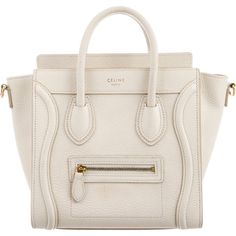 Pre-owned C?line Nano Luggage Tote ($1,595) ❤ liked on Polyvore featuring bags, handbags, tote bags, purses, white, leather handbag tote, white leather tote bag, handbags totes, white leather handbags and zip tote bag