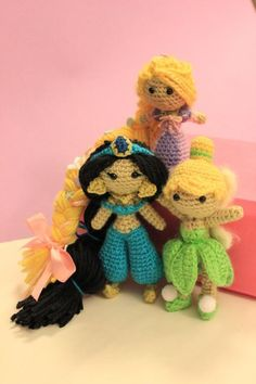 Rapunzel from Tangled, Jasmine from Aladdin, and Tinker-bell from Peter Pan