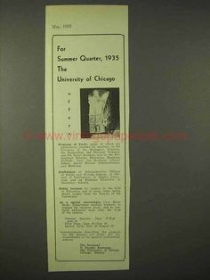1935 University of Chicago Ad - For Summer Quarter