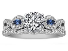 Infinity Engagement Ring  matching Wedding Ring Blue Sapphire Pear Accents...this is GORGEOUS!!!