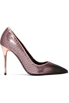 TOM FORD - Dégradé Sequined Leather Pumps - Purple | Eeseeagans Online on WeShop Tom Ford, All Black Outfit, Leather Pumps, Stiletto Heels, Toms, Footwear, Purple, How To Wear, Fashion