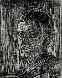 alexandrainspire:  Edvard Munch woodcut self portrait facing...