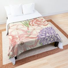 'Cutesy Pastel Flower Power Floral Print' Comforter by Pamela Arsena Pastel Home Decor, Pastel Interior, Spring Home Decor, Flower Power, Floral Comforter, Pastel House, Kitchens And Bedrooms, Beautiful Bedrooms, Comforters